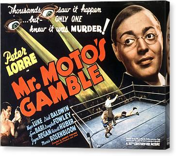 Mr. Motos Gamble, Peter Lorre, 1938 Canvas Print