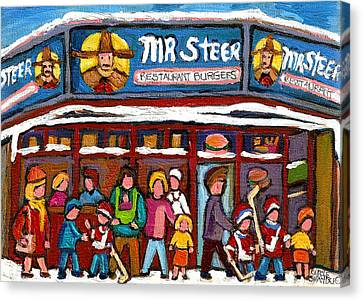 Mr Steer Restaurant Montreal Canvas Print by Carole Spandau