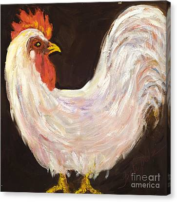 Mr. White Rooster Canvas Print