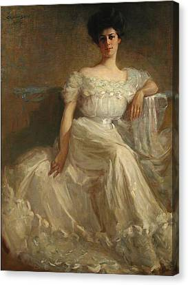 Mrs. Leslie Thayer Green Canvas Print by John Willard Clawson