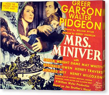 Mrs. Miniver, Greer Garson, Clare Canvas Print by Everett
