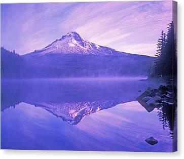 Mt. Hood And Trillium Lake Mt Hood Canvas Print by Dan Sherwood