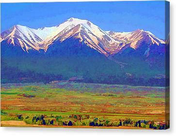 Canvas Print featuring the digital art Mt. Princeton Morning by Brian Davis