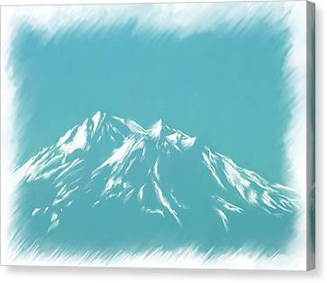 Mt Shasta Snow Melts To Blue Sketch Canvas Print by Cindy Wright