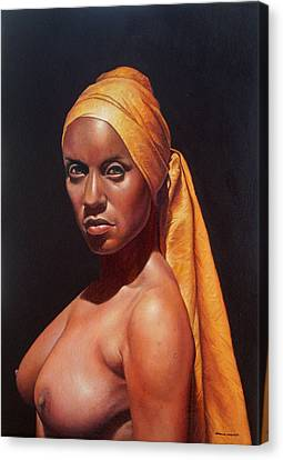 Mujer Con Turbante Canvas Print by Hernan Miranda