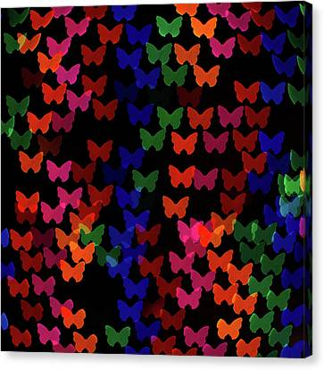 Multi Colored Butterfly Shaped Lights Canvas Print