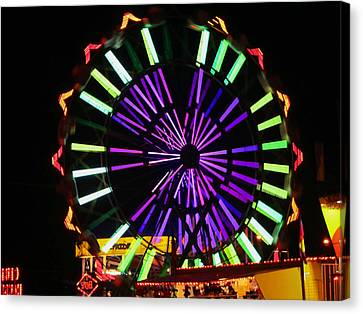 Canvas Print featuring the photograph Multi Colored Ferris Wheel by Kym Backland
