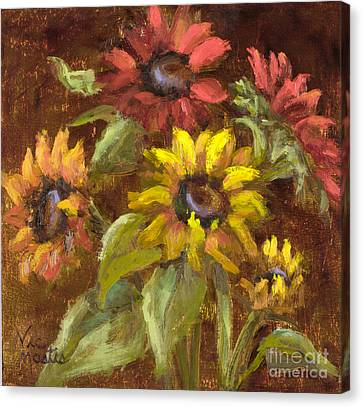 Multicolored Sunflowers With Gold Leaf By Vic Mastis Canvas Print by Vic  Mastis