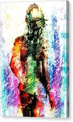 Canvas Print featuring the digital art Multicolorwoman by Andrea Barbieri