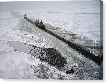 Multinational Fleet Of Icebreakers Canvas Print by Cotton Coulson