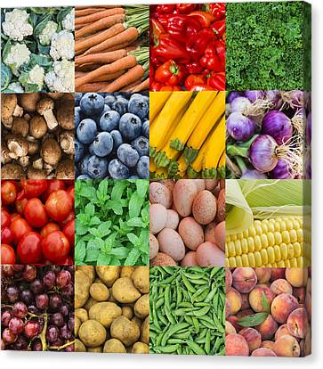Multiple Image Showing Variety Of Edible Goods Canvas Print