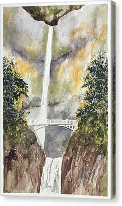 Multnomah Falls Canvas Print by Jean Moule