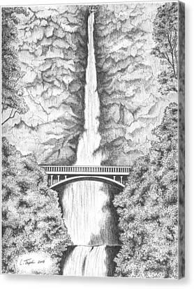 Multnomah Falls Canvas Print by Lawrence Tripoli