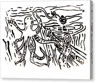 Canvas Print featuring the painting Munch On Octopussy A Tribute To Munch With Romantic Octopus Pier Screaming Boats Lake Flower Love by M Zimmerman