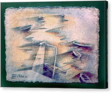 Lamp Post Canvas Print - Muros Boats 1982 by Glenn Bautista