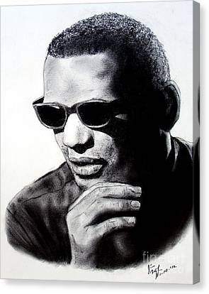 Canvas Print featuring the painting Music Legend Ray Charles by Jim Fitzpatrick