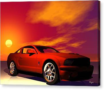 Canvas Print featuring the digital art Mustang Gt by John Pangia