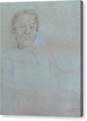 Canvas Print featuring the drawing My Son by Becky Kim