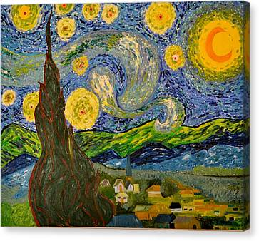 My Starry Night Inspired By The Master Vincent Van Gogh Canvas Print by Evelyn SPATZ
