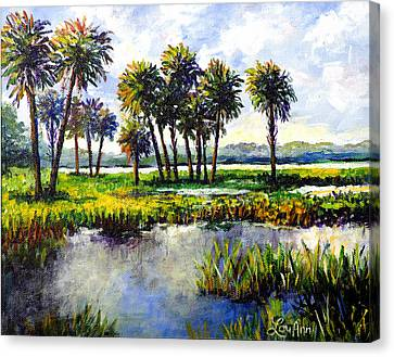 Canvas Print featuring the painting Myakka Lake by Lou Ann Bagnall