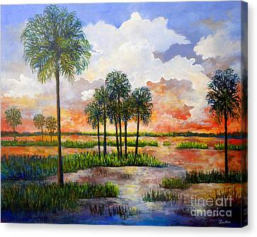 Canvas Print featuring the painting Myakka Sunset by Lou Ann Bagnall