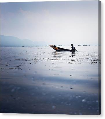 Myanmar Fisherman Canvas Print by Nina Papiorek