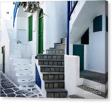 Mykonos Stairs Canvas Print by Rebecca Margraf