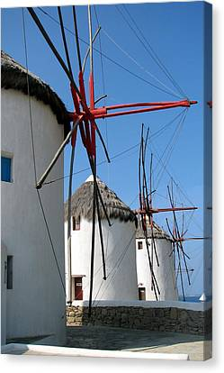 Canvas Print featuring the photograph Mykonos Windmills by Carla Parris