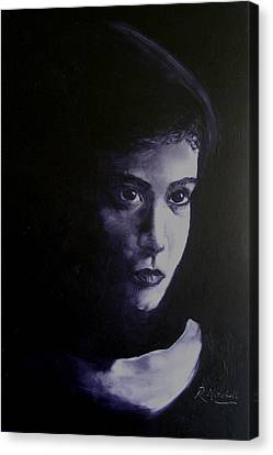 Mystery Woman In Scarf Canvas Print by Raynette Mitchell