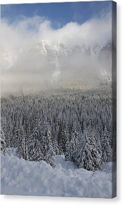 Canvas Print featuring the photograph Mystic Peaks by Sylvia Hart