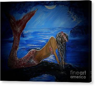 Mystical Midnight Mermaid Series 2 Canvas Print by Leslie Allen