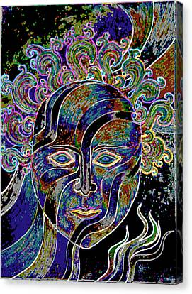 Canvas Print featuring the drawing Mythic Mask by Nareeta Martin