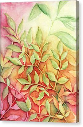 Canvas Print featuring the painting Nandina Leaves by Carla Parris