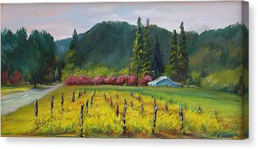 Napa Valley Mustards On Silverado Trail Canvas Print by Deirdre Shibano