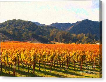 Napa Valley Vineyard In Autumn Colors Canvas Print by Wingsdomain Art and Photography