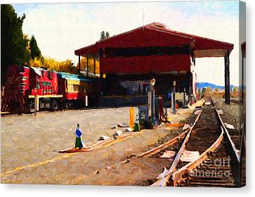 Napa Wine Train At The Napa Valley Railroad Station Canvas Print by Wingsdomain Art and Photography