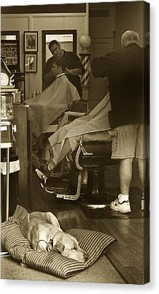 Napping At The Barbershop Canvas Print by Steve Gravano