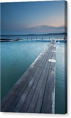 Clouds Over Sea Canvas Print - Narabeen Ocean Pool by Jason Round