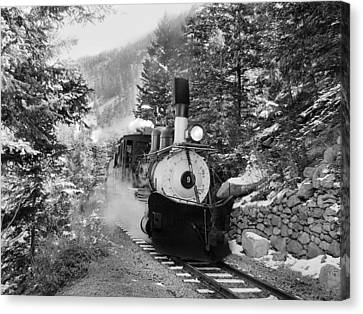 Narrow Gauge Memories Black And White Canvas Print by Ken Smith