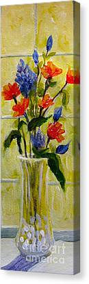 Canvas Print featuring the painting Narrow Window Flowers by Gretchen Allen