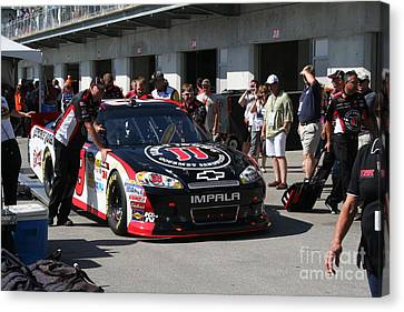 Nascar Inspection 20 Canvas Print by Roger Look