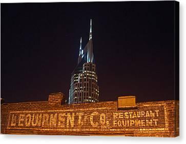 Nashville Downtown Night Scene Canvas Print by Douglas Barnett