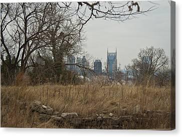 Nashville Skyline From The Fort Canvas Print by Douglas Barnett
