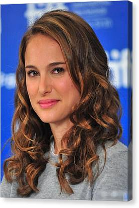Natalie Portman At The Press Conference Canvas Print