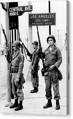 National Guardsmen At A Los Angeles Canvas Print by Everett