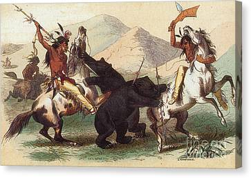 Native American Indian Bear Hunt, 19th Canvas Print by Photo Researchers