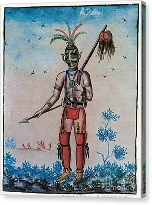 Native American With Scalps Mid-18th C Canvas Print by Photo Researchers