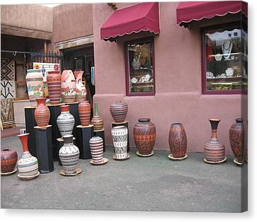 Canvas Print featuring the photograph Native Jars And Vases Market by Dora Sofia Caputo Photographic Art and Design