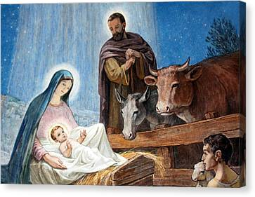 Nativity Painting At Shepherds Fields Canvas Print by Munir Alawi