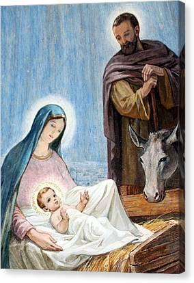 Nativity Story At Shepherds Fields Canvas Print by Munir Alawi